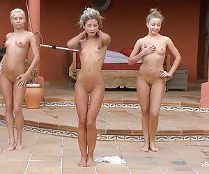 3 لزبین نوجوان روغنی در حال تمرین صبحگاهی هستند